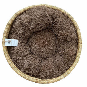 Wicker Cat Basket - Cat-Small Dog Bed With Cushion