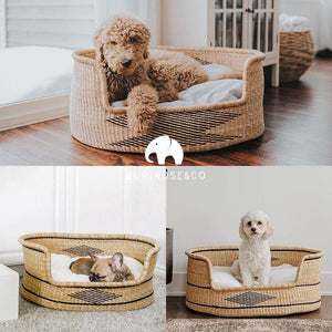 Wicker Dog Basket - Large Woven Dog Bed