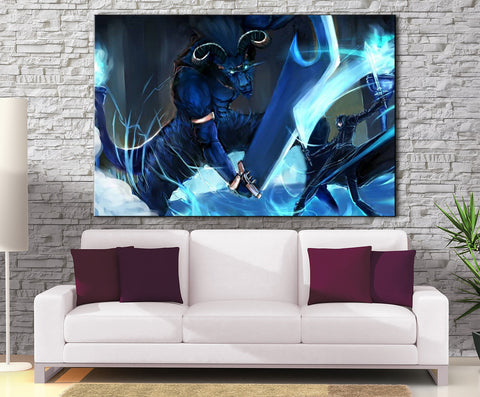 Décoration Murale Sword Art Online Kirito Vs Blue eyed Demon