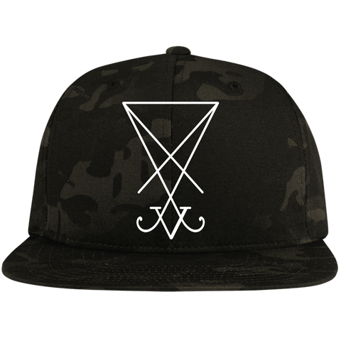 Sigil of Lucifer Embroidered Flat Bill High-Profile Snapback Hat