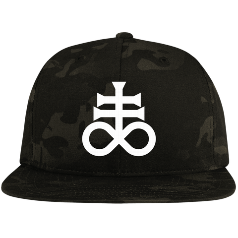 Leviathan Cross Embroidered Flat Bill High-Profile Snapback Hat