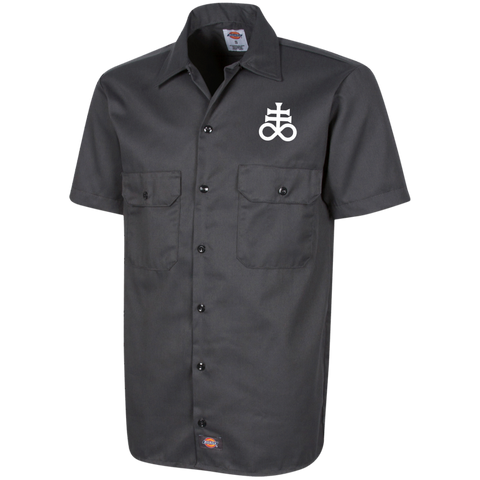 Leviathan Cross Embroidered Men's Short Sleeve Work Shirt