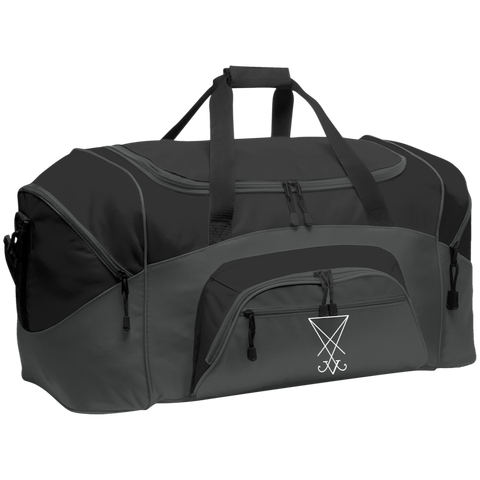 Sigil of Lucifer Embroidered Colorblock Sport Duffel