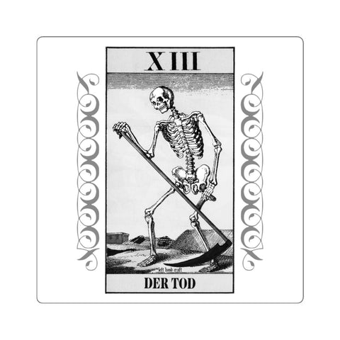 German Tarot Death Card Square Stickers