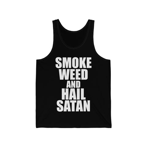 Smoke Weed and Hail Satan Unisex Jersey Tank - lefthandcraft
