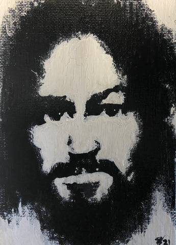"Charles Manson - 4"" x 6"" Hand Painted on Canvas"