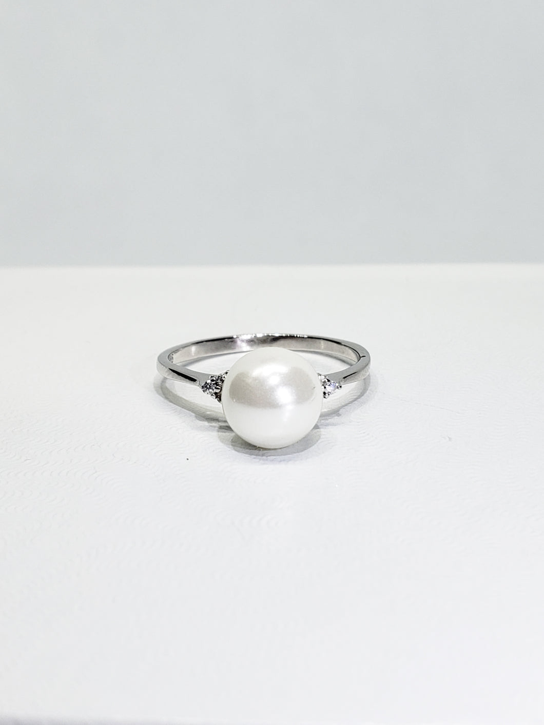 Freshwater Pearl and CZ Sterling Silver Ring