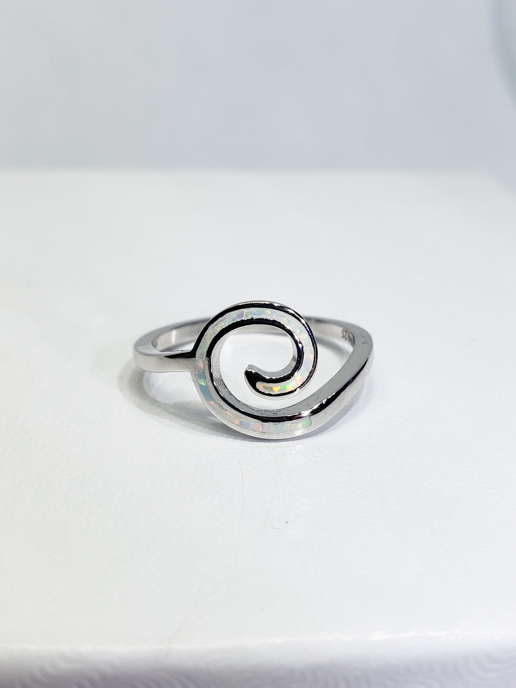 White Opal Swirl Sterling Silver Ring