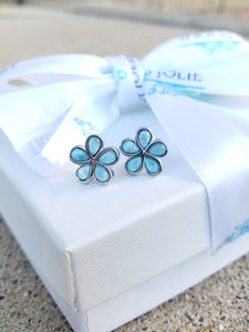 Flower Shaped Natural Larimar Sterling Silver Set