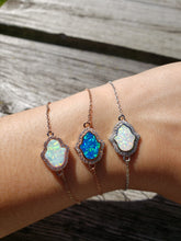 Load image into Gallery viewer, Hamsa Opal and CZ Sterling Silver Bracelet.