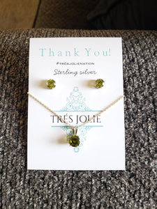 Peridot Sterling Silver Set