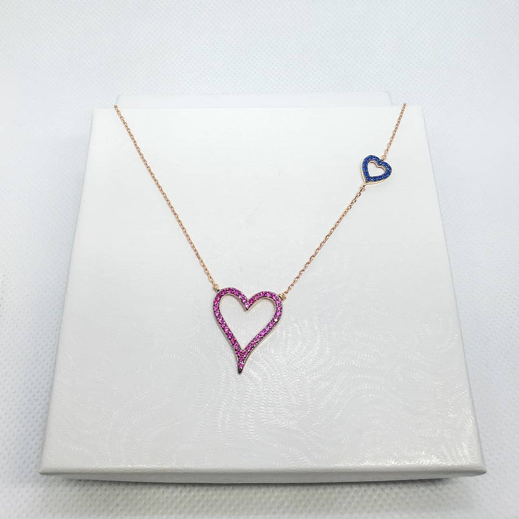 Rose Gold Plated Sterling Silver and CZ Heart Set