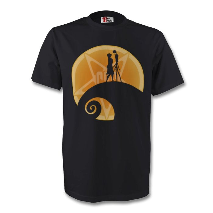 Jack & sally silhouette black t-shirt