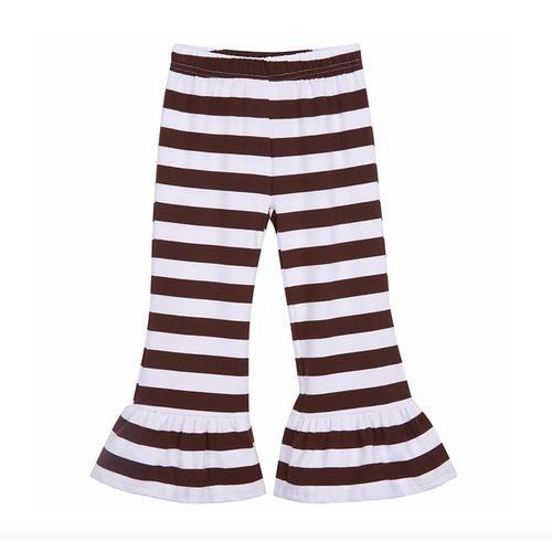 Cotton Stripe Ruffle Pants