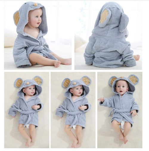 Baby Hooded Terry Bathrobe: Blue-Gray Mouse