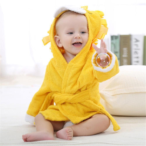 Baby Hooded Terry Bathrobe: Yellow Lion
