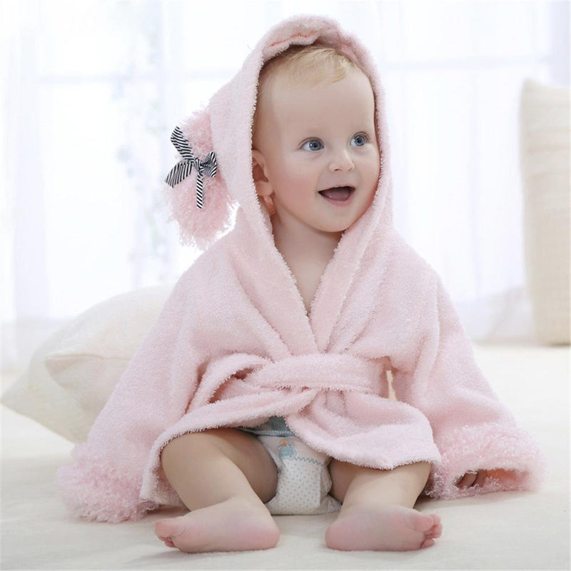 Baby Hooded Terry Bathrobe: Pink Sheep
