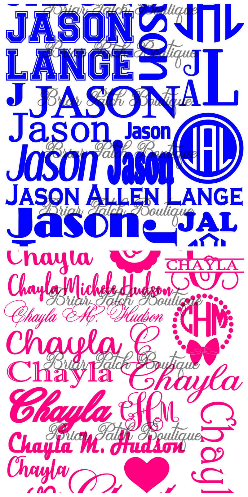 Name and Monogram Decal Collection Sheet