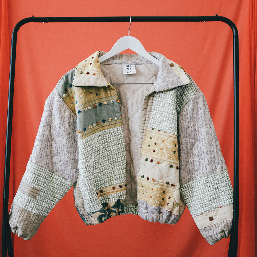 Pelageya Quilted Patchwork Bomber