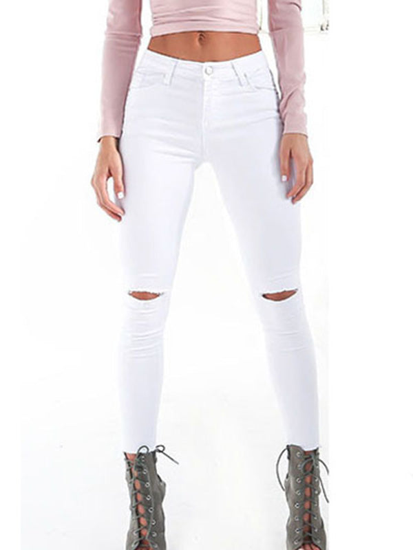 50ce77d7094 Knee Rips Raw Hem Skinny Ankle Jeans丨ZealCouture