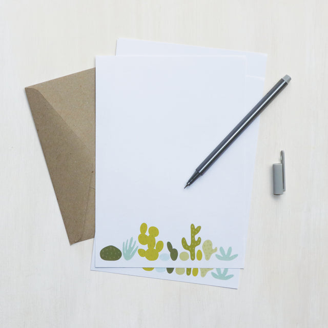 'Succulents' Notepaper Writing Set, made in Australia.