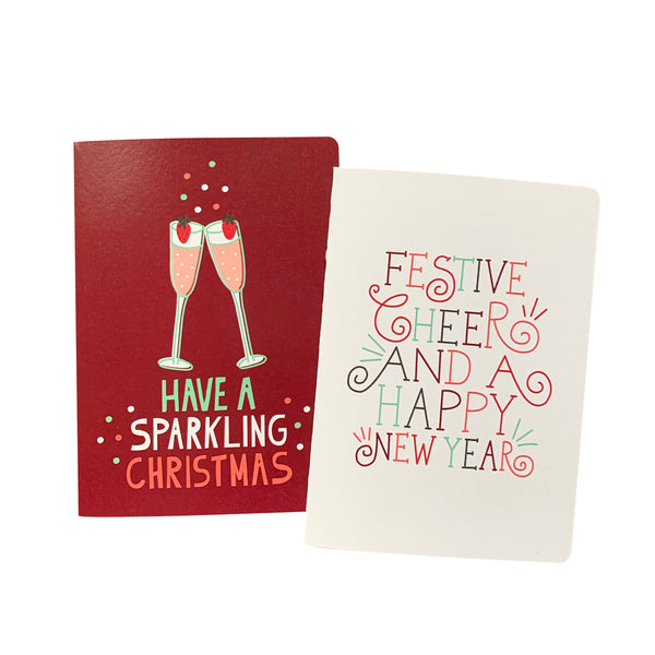 'Sparkling Festive Cheer' Greeting Card Set of 10 Christmas Cards