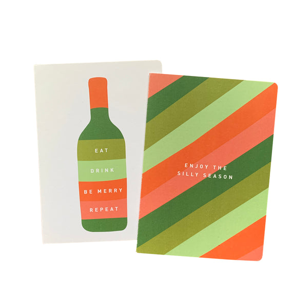 'Eat, Drink, Silly Season' Greeting Card Set of 10 Christmas Cards