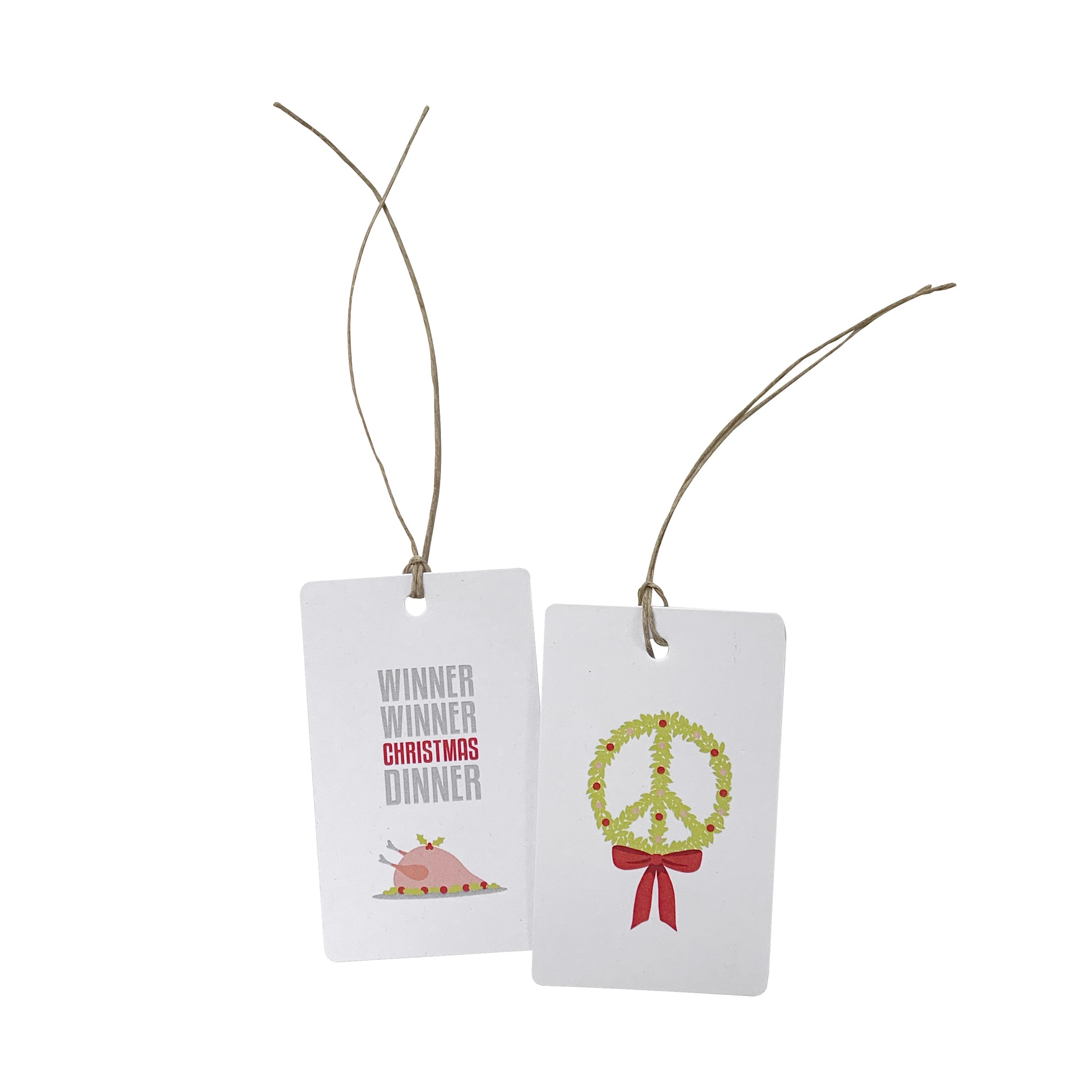 'Winner Peace Wreath' Gift Tag Set of 10 Christmas Tags
