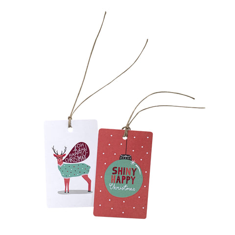 'Shiny Happy Reindeer' Gift Tag Set of 10 Christmas Tags