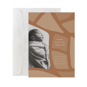 'Abstract Leaves' Birth Announcement Card