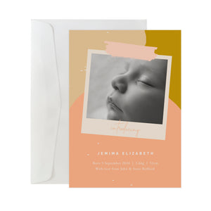 'Colour Block' Birth Announcement Card