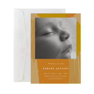 'Brushstrokes' Birth Announcement Card