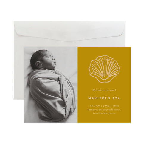 'Seashell' Birth Announcement Card