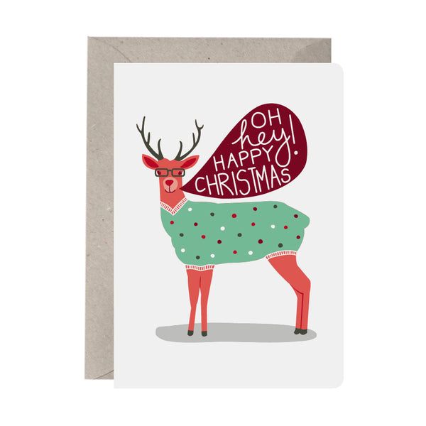 'Shiny Happy Reindeer' Greeting Card Set of 10 Christmas Cards