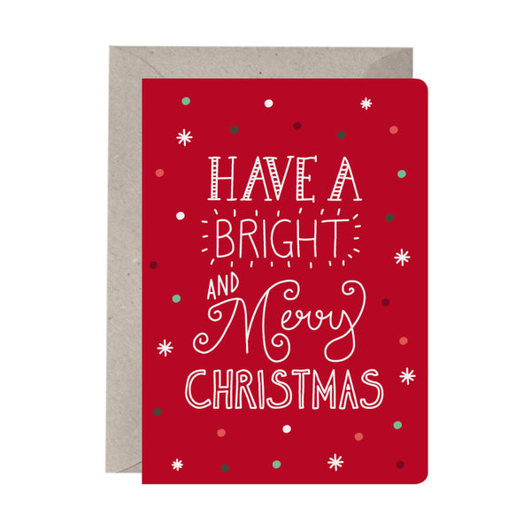 'Bright & Merry Joy' Greeting Card Set of 10 Christmas Cards