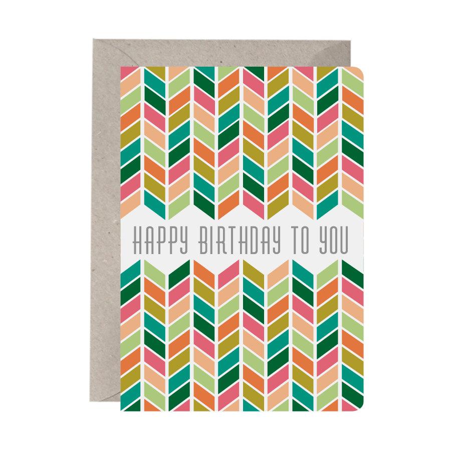 'Happy Birthday To You Chevron' Birthday Card