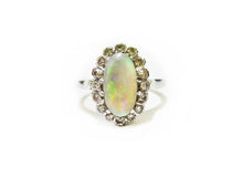 Load image into Gallery viewer, Art Deco Opal & Diamond Ring