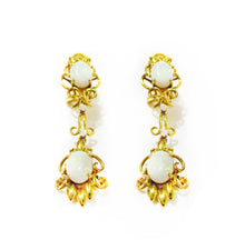 Load image into Gallery viewer, Opal & Diamond Filigree Earrings