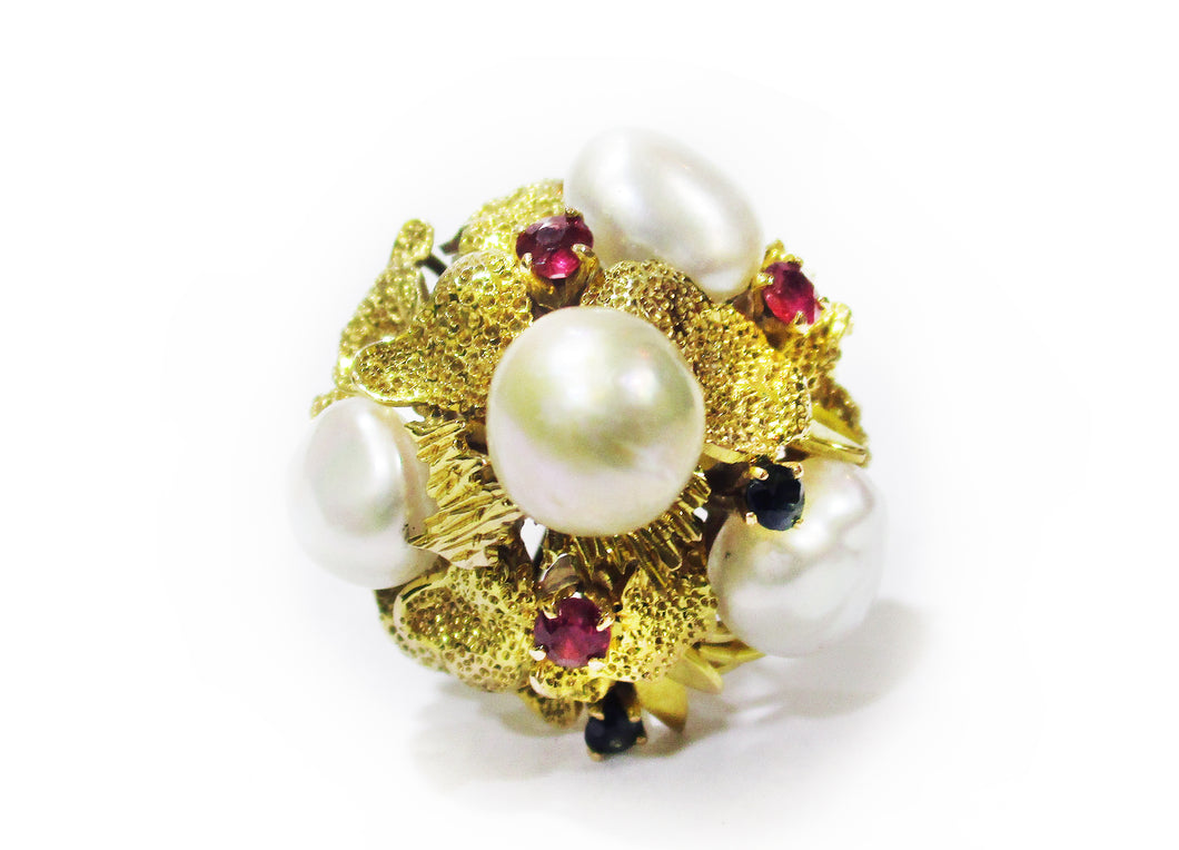 Italian Pearl Cluster Ring