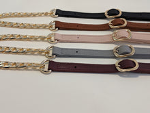 Load image into Gallery viewer, Burgundy leather gold chain strap