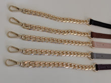 Load image into Gallery viewer, Slate leather gold chain strap