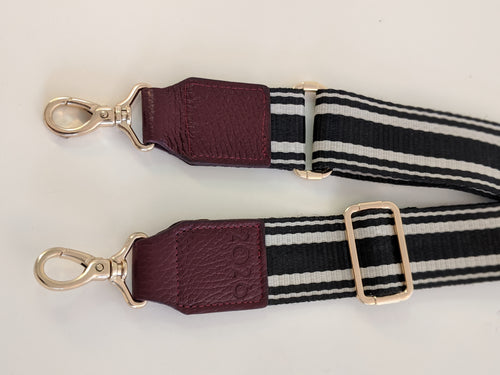Burgundy trim black canvas strap