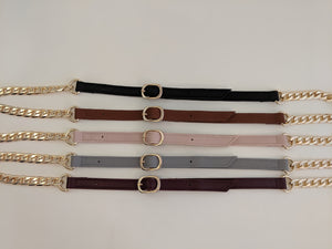 Slate leather gold chain strap