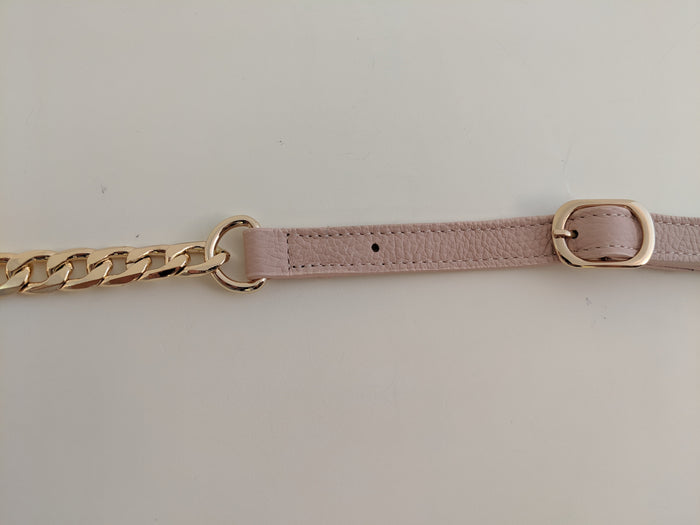 Rose leather gold chain strap