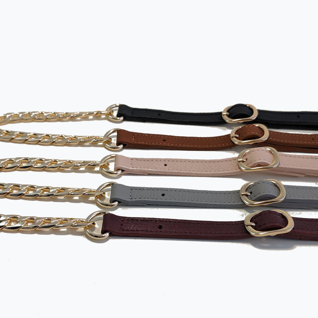 Black leather gold chain strap
