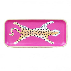 Pink Leopard Handprinted Tray