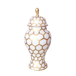Gold Mesh Painted Ginger Jar 12""