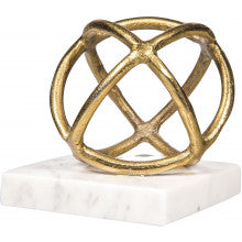 Gold Sphere on Marble Base Bookend