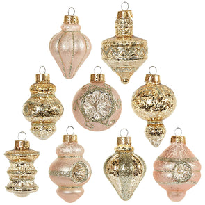 Vintage Blush Gold Ornaments (Set of 9)