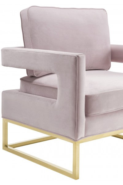 Blush Pink Velvet & Gold Chair